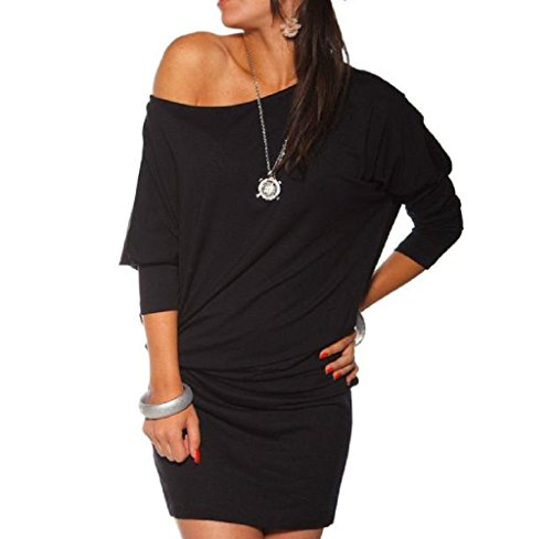 Gillberry Womens Long Sleeve Off Shoulder Bodycon Mini Batwing Tunic Dress (XL, Black)