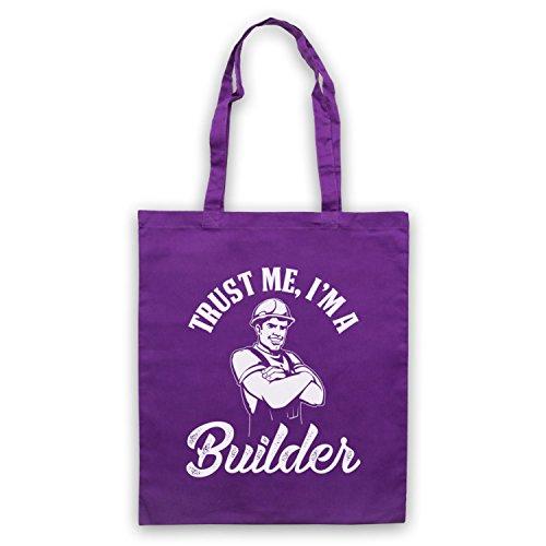 Trust Me I'm A Builder Funny Work Slogan Bolso Morado