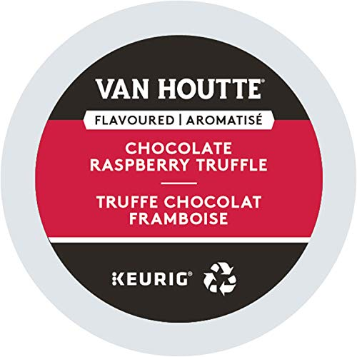 Flavored Coffee Truffle - Van Houtte, Raspberry Chocolate Truffle, Single-Serve Keurig K-Cup Pods, Light Roast Coffee, 48 Count (2 Boxes 24 Pods)