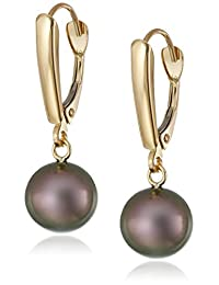 14k Yellow Gold Drop Earrings with Freshwater Cultured AA-Quality 8mm-9mm Pearls