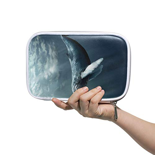 Humpback Whale Makeup Brushes Bag Multifunction Leather Big Pencil Case Holder Zip Pouch