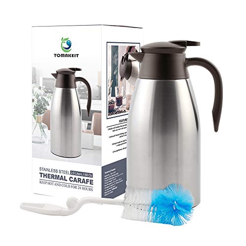 Insulated Vacuum Steel Carafe Stainless - TOMAKEIT Stainless Steel Coffee Thermal Carafe - 2 Litre Double Walled Insulated Vacuum Flask - 24 Hour Heat Retention 68 Oz for Coffee or Tea(Sliver)
