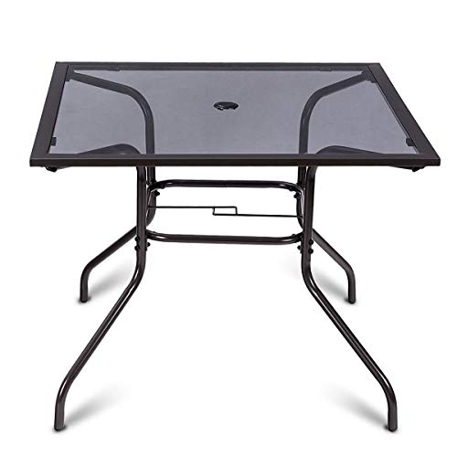 Square Dining Table Glass Top Deck Patio Yard Garden Outdoor Furniture 37 1/2