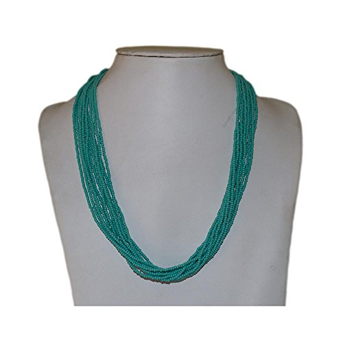 Turquoise Blue Multi-strand Seed Beads Necklace with Silver Plated Findings, Nepal,Handmade