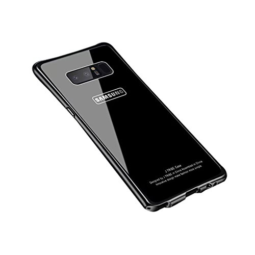Price comparison product image ANERNAI Galaxy Note8 Metal Frame + Tempered Glass Back Ultra Thin Shockproof Cover for Samsung Galaxy Note 8 (Black)