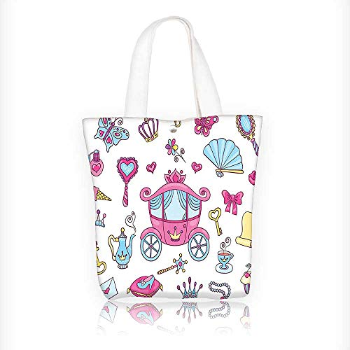 Canvas Tote Bags Princess Theme Carriage Tiara Wand Butter K