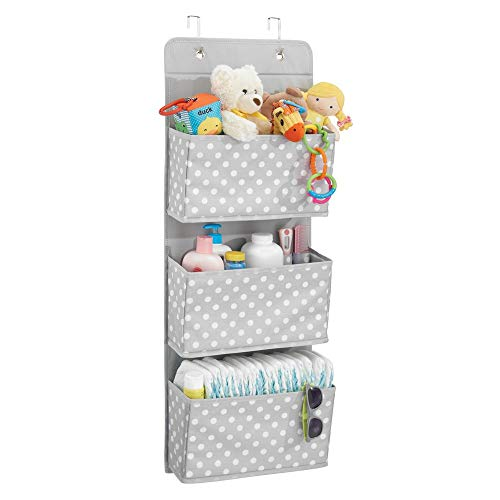 mDesign Soft Fabric Wall Mount/Over Door Hanging Storage Organizer - 3 Large Pockets for Child/Kids Room or Nursery - Hooks Included - Polka Dot Print - Light Gray with White Dots ()