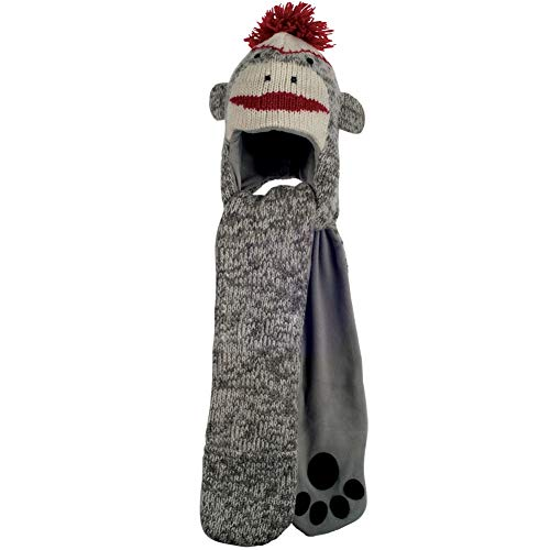 Animal World - Cute Sock Monkey Hat Mittens -