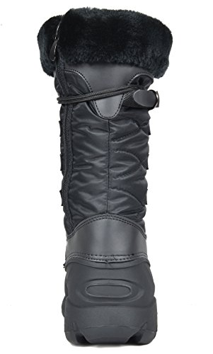 TRAUM-PAAR-Frauen Nordfaux-Pelz-mittlere Kalb-Winter-Schnee-Aufladungen Tapanz-schwarz