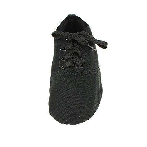 Dames Canvas Lage Hak Balletdans Sneaker Zwart