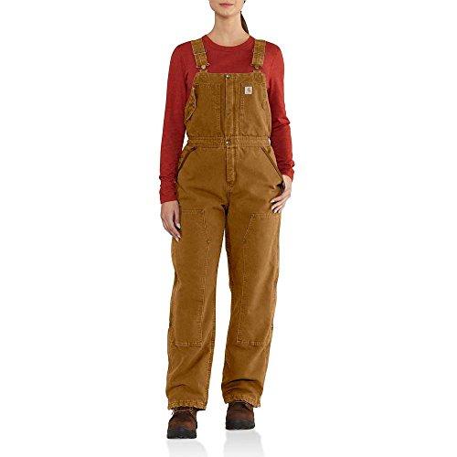 Carhartt Women's Weathered Duck Wildwood Bib Overalls, Brown, M Short by Carhartt