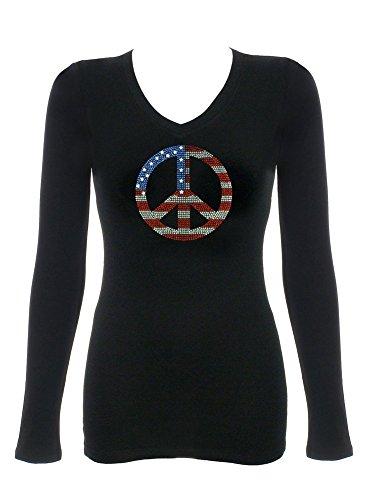 Women's Star Spangled Banner Peace Sign Rhinestone Bling V-Neck T-Shirt XLarge Peace Bling
