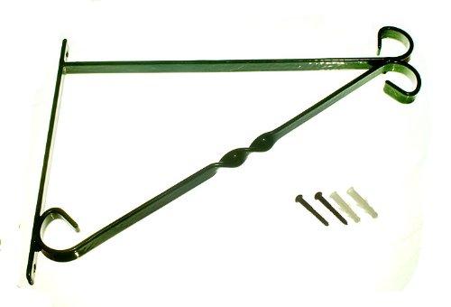 24 X Bracket For 14 Inch Hanging Basket Green Plastic Coated Steel + Fixings