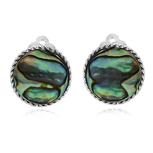 - Classic 18 mm Round Abalone Shell Button .925 Sterling Silver Clip On Earrings