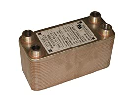 Brazed Plate Heat Exchanger, 3 x 8, 30,000 BTU 50 Plate Port Size: 3/4\