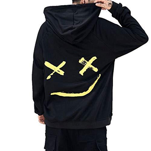 Sweat Mode 2 Face À Haut Longues Homme shirt Col Sweatshirt Gilet Smile Happiness Imprime Pull Manches noir Cher Capuche Casual Pas Tops Lonshell gUqdWAd