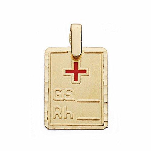 Pendentif 9k plaque d'or du groupe sanguin de la croix rouge 20mm RH. [AA2733GR] - personnalisable - ENREGISTREMENT inclus dans le prix