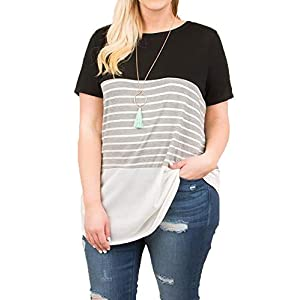 Womens Tops Color Block Striped T Shirt Plus Size Short Sleeve Casual Loose Summer Tunic Tees Black