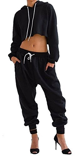 WorkTd Women's Crop Top Hoodie Pant 2 PCs Sweatsuit Set Sports Outfit black S