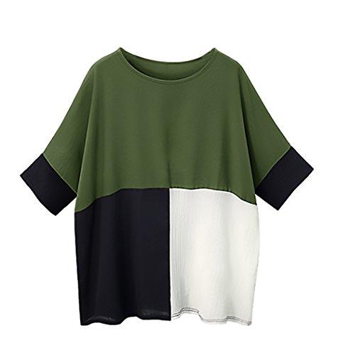 Camicia Giuntura 3 Pipistrello Spiaggia 4 Shirt Verde Magliette Casual Vintage Girocollo Estivo Unico Oversize Elegante Tshirt Giovane T Sciolto Misti Colori Manica Donna Manica A Maglietta YqHOaw8