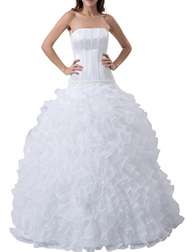 Albizia Studded Strapless White Ball Gown Crystals Wedding Dresses(18,White) (Gown Ball Studded Dress)
