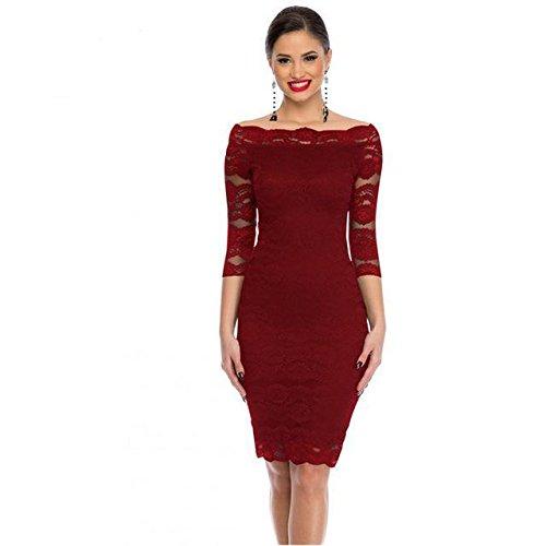 ae49abb9d931 Dear-Lover Office Ladies Dress Party Slash Nech Black Lace Scalloped Off  Shoulder Midi Dress