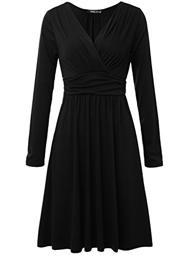 JayJay Women Casual Strethcy Waist Band Sexy Faux Wrap Dress,Black,2XL by JayJay Company