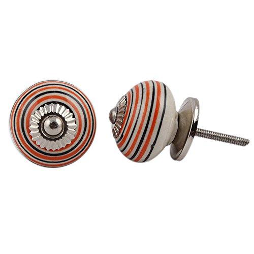 Indianshelf Handmade 4 Piece Ceramic Orange Stripe Dresser Knobs Artistic Rust Free Wardrobe Pulls Traditional ()