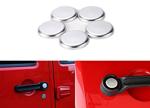 Ice-man 5PCS/Set Aluminum Exterior Door Handle Push Button Cover Trim For Jeep Wrangler 4-Door 2007 2008 2009 2010 2011 2012 2013 2014 2015 2016 2017 (Silver)