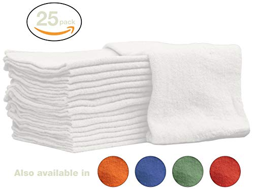 Nabob Wipers Auto-Mechanic Shop Towels, Shop Rags 100% Cotton Commercial Grade Perfect for Your Garage, Auto Body Shop & Bar Mop (12x12) inches, 25 Pack, (White)