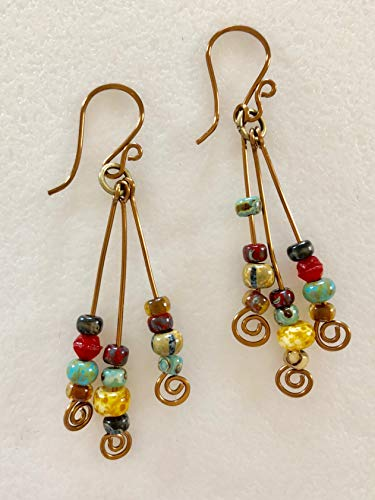 Rustic Picasso Bead Earrings, Aged Caribbean Mix, Turquoise Amber Red Green Orange Brown, Handmade Wires, Vintage Bronze, Boho, Tribal. ()