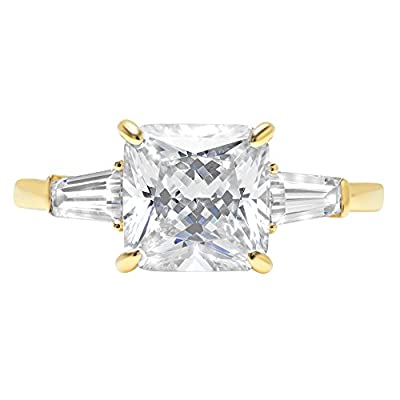 Clara Pucci 3.6ct Asscher Baguette Cut Simulated Diamond 3-Stone Classic Solitaire Designer Statement Ring 14k Yellow Gold for Women from Clara Pucci