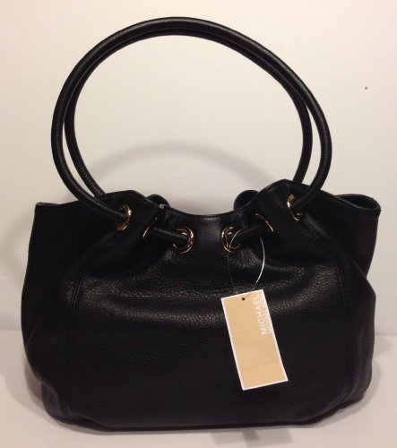 435f5aca029e82 Michael Kors Ring Tote MD EW Black Leather: Handbags: Amazon.com