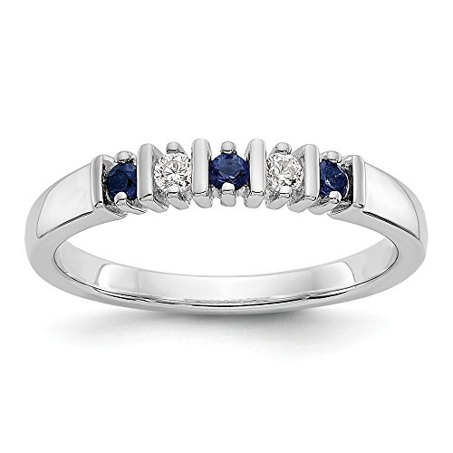 Bar Channel Diamond Band - KIOKORI 14K White Gold Ladies 5-Stone Diamond and Sapphire Channel Bar Set Band 1/5-Carat tw ~ Ring Size 8 ~ by Roy Rose Jewelry