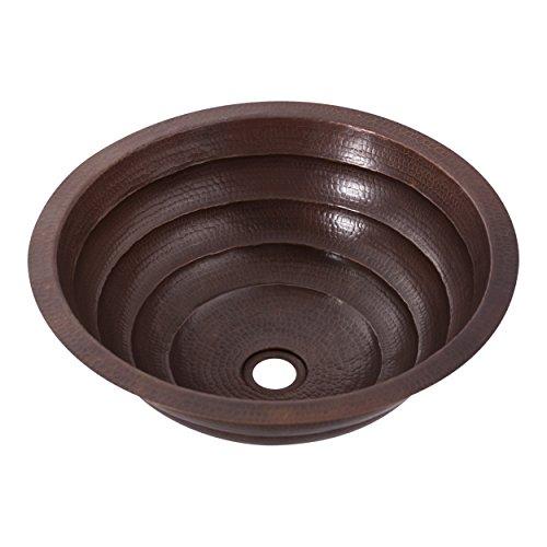 Novatto TCU-006AN Copper Drop-In Round Bathroom Sink, 19 x 14 x 6 inches, Copper