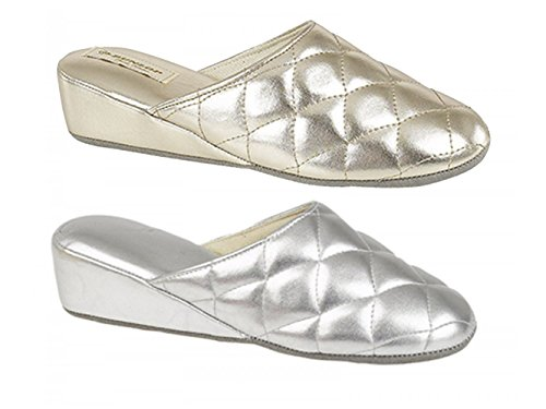 Dunlop SYBIL Ladies Quilted Mule Slippers Gold Gold 5qtallhu