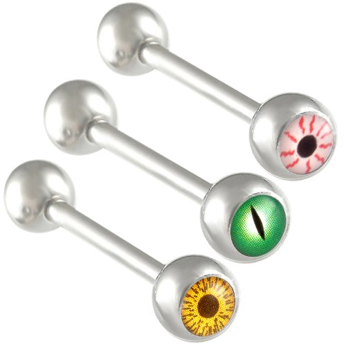 3Pcs 14g 14 gauge 1.6mm 18mm steel tongue rings straight barbell ball bars tounge Logo Body Jewelry ACZY