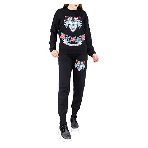 Pantaloni a maniche lunghe con ricamo a maniche lunghe di grandi marchi di moda a due pezzi Black