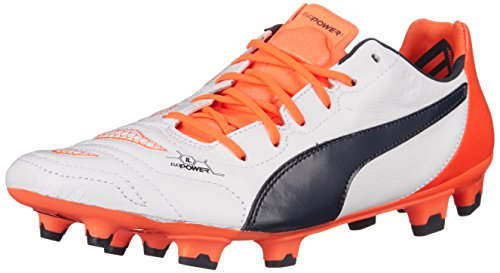 Puma Uomo Evopower 1.2 In Pelle Fg Scarpa Da Calcio Bianca / Eclisse Totale / Getto Di Lava