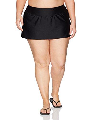 Coastal Blue Women's Plus Size Swimwear Skirt With Inside Brief Bottom