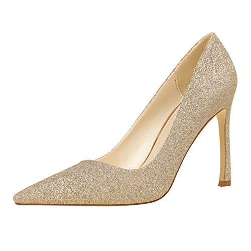 Súper de Yukun 39 Tacón De Tacón Fino con De Zapatos Moda Las Alto Mujeres Oro Mujer alto Alto Zapatos zapatos tacón Champagne Estrecha De Boca Viento De ZZO5qCS