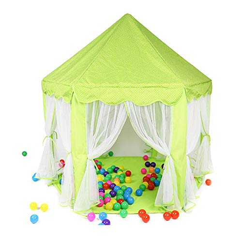 TENCMG Princess Tent Girls - Castle Play Tent - Large Children Playhouse - for Children Indoor and Outdoor Games,Green,140x135cm/55x53in