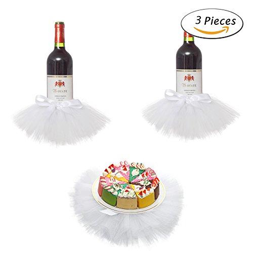 Haperlare 3pcs Elegant Red Wine Bottle Cover Tulle Wine Bottle Skirt for Wedding Party Baby Shower Christmas Birthday Cake Dessert Table Decorations,White (Birthday Cover)