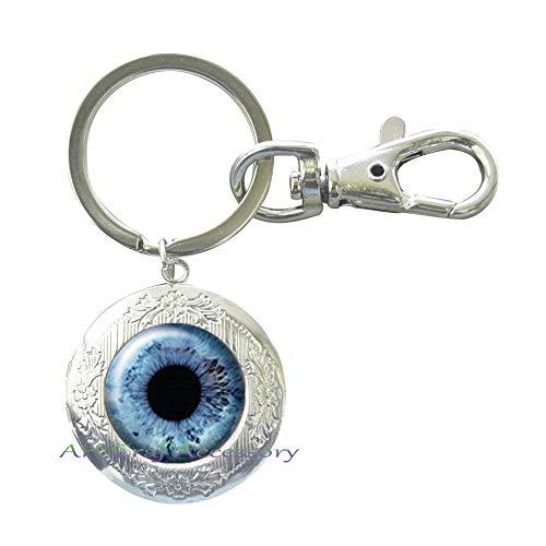 - Eyeball, Galaxy,Silver Locket Keychain Jewelry, Locket Keychain Clip,Gift for Bridesmaid Jewelry Gift for her Glass Locket Keychain,RN304 (G1)