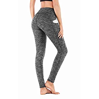 IUGA High Waist Yoga Pants with Pockets, Tummy Control, Workout Pants for Women 4 Way Stretch Yoga Leggings with Pockets (Space Dye Gray 840, Large)