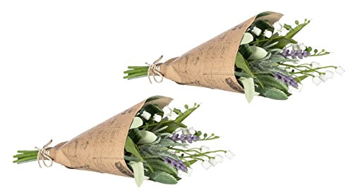 Sullivans Set of 2 Artificial Lavender & Lily Bouquets in Brown Paper Wrapping