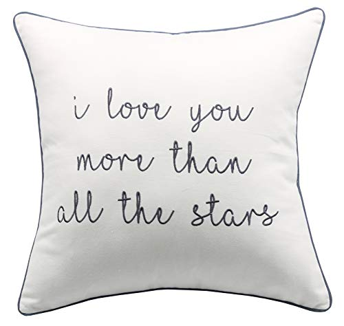 """YugTex I Love You Than Stars Embroidered Ivory Cotton Decorative Throw Pillowcase For Couple Wedding Anniversary Boyfriend Girlfriend Sofa Porch Bedroom (18""""x18"""", Ivory(I Love Star))"""