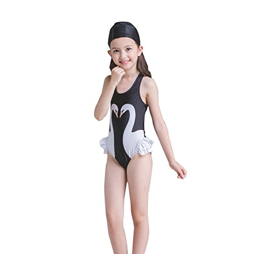 LSERVER Kids Girls Ruffled One-Piece Swimsuits Swimwear Beachwear Black Swan -