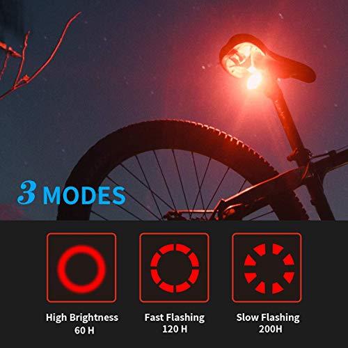 Feux de vélo de Montagne Ensemble Avant et arrière, lumières de vélo à LED Rechargeables USB, 5 Modes, 700 lumens, étanche pour la Nuit Comprend 18650 Piles et Chargeur (Paquet de 2)