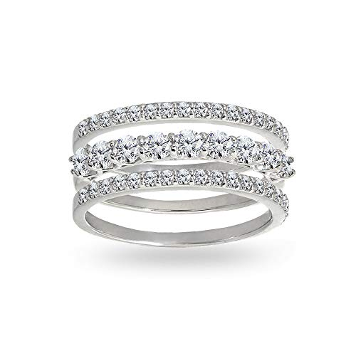 Sterling Silver Cubic Zirconia Round Stackable Anniversary Thin Eternity Band Three Ring Set, Size 7